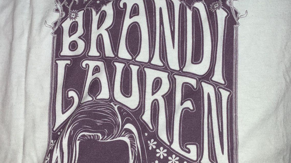 White & Purple Brandi Lauren V-neck shirt
